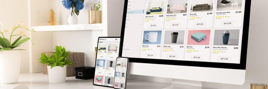 ecommerce online shop website web to print on home office setup